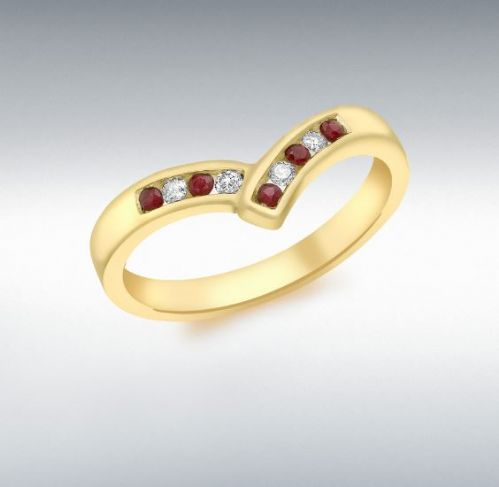 Channel Set Yellow Gold Ruby And Diamond Wishbone Ring